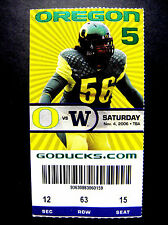 Oregon Ducks Washington Huskies 2006 NCAA College Football 11/4/06 Ticket Stub !