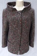 CHANEL TWEED JACKET PEACOAT Authentic SZ 46 WOOL BROWN MOHAIR ALPACA M8612 COAT