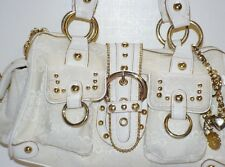 KATHY VAN ZEELAND Signature Logo Fabric Bag WHITE/GOLD Satchel Handbag Purse~EUC