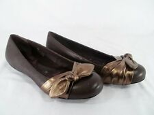 BORN HAND CRAFTED MOLLY Brown Leather Copper Bow Ballet Flats Womens 8M