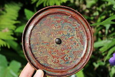 Genuine Chinese bronze lacquered mirror – 2 Dragons design, Qing Dynasty