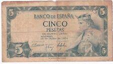 5 Cinco Pesetas Banco de Espana 1954 Alfonso X E5168452 Madrid