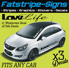 LOW LIFE WINDSCREEN & SIDE GRAPHICS DECALS STICKERS CAR VINYL FORD VW CORSA ST