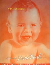 PUBLICITE AFFICHE BEBE NESTLE BABY LAIT CONCENTRE SUCRE DE 1931 FRENCH AD PUB