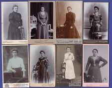 160 ★ Konvolut/ Lot - 8 CDV-Fotos - junge Frauen in zeittypischer Mode um 1900