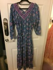 Blue V Neck Indian Summer Dress One Size