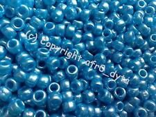 100 PONY BEADS DIFFERENT COLOURS  9x6mm Barrel Shape
