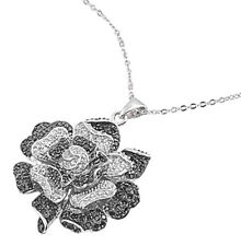 Rose Necklace with Clear & Black Cubic Zirconia Sterling Silver 925 Jewelry Gift
