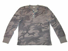Ralph Lauren Denim and Supply Gray Camo Polo Henley USA Flag Shirt XL