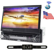 Single 1 Din 7''LCD In Dash GPS Stereo Radio Car DVD Player Touch Screen BT+CAM