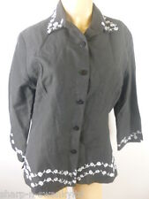 Ladies Black/Silver Embroidered Silk/Linen Suit Blazer Jacket UK 8 EU 36
