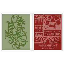 Sizzix Tim Holtz Merry Christmas & Vintage Holiday Embossing Folder Set 656945