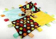 Infant Baby Security Snuggles Tags Soothing Comforter Blanket -Monkey Rattle
