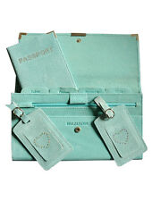 4 Piece Suede Travel Set - Brand New - Aqua