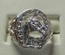 MENS DISTINCTIVE FINE HORSE HEAD AND HORSE SHOE  STERLING RING