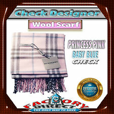 Brand New! Check Designer Fashion Wool Scarves - Colour:Princess Pink/ Baby Blue