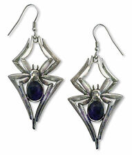 Gothic Spider Earrings with Black Navette Stone Silver Finish Pewter #1010B