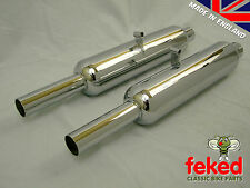 TRIUMPH 5T SPEED TWIN 500cc - PAIR OF EXHAUST SILENCERS - 1939-53 - OEM: 70-3323