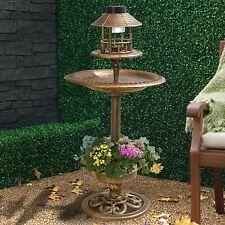 Mangiatoia Bronzo & bagno energ solare luce giardino ornamentali tavolo Bird Stazione