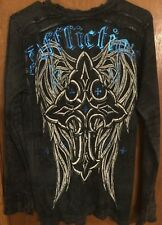 AFFLICTION MENS MEDIUM REVERSIBLE LONG SLEEVE BLACK/GRAY THERMAL AUTHENTIC EUC!