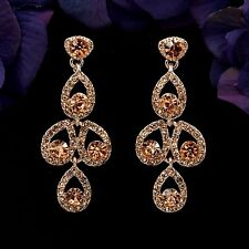 Rose Gold Plated Peach Crystal Rhinestone Wedding Drop Dangle Earrings 08911 New