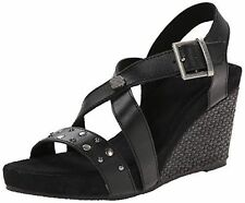 HARLEY DAVIDSON Lila Black Leather Women Size 5.5 M Wedge NEW IN BOX $95