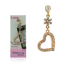 Deluxe Diamond Bling Heart Charm 3.5mm Earphone Jack Plug For Cell Phones