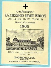GRAVES 1ER GCC VIEILLE ETIQUETTE CHATEAU LA MISSION HAUT BRION 1966 75 CL§26/08§
