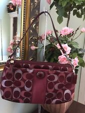 Coach 3 Color  Berry Maroon Signature Sateen Stripe Wristlet F48065 W14