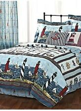 QUEEN SAIL BOAT LIGHTHOUSE NAUTICAL OCEAN COMFORTER SKIRT SHAM BEDDING ANCHOR