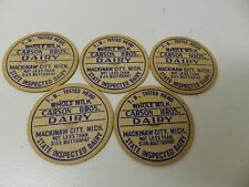 Milk bottle cap cover lot Carson Brothers Mackinaw City Michigan Dairy Antique