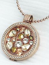 ROSEGOLD Coin/Moneda Cz Pendant/Carrier/Keeper & Open Rose Moneda/Coin Necklace