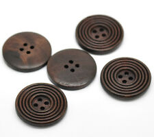 5 Black Coffee coloured 4 hole Wooden Sewing Buttons 30mm