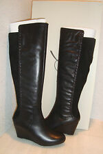 Rachel Roy Womens NWB Rfrolettah Black Leather Wedge Boots Shoes 5.5 MED NEW
