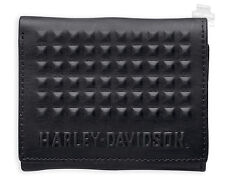 Harley Davidson  Mens  Studded Tri Fold  Black Leather  Wallet