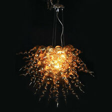 "LARGE AMBER BLOWN GLASS CHANDELIER 35.5""DIA - NEW FROM ARTIST"