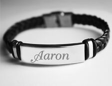 Name Bracelet AARON - Mens Leather Braided Engraved Bracelet - Name Plate Gifts