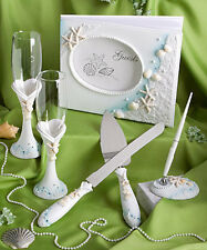 Beach Theme Wedding Set Guest Book ,Pen, Champagne Flutes Cake & Knife server