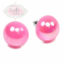12mm Jelly Effect Faux Half Round Pearl Stud or Clip-on Earrings Rainbow Colours