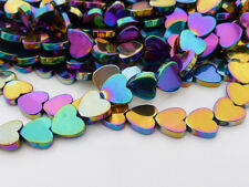 "Rainbow Multi Coloured Non-Magnetic Hematite Heart Beads 10mm - 15.5"" Strand"