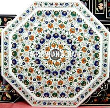 36'' Marble White Dinning Table Top Multi Marquetry Inlay Art Garden Decor H3152