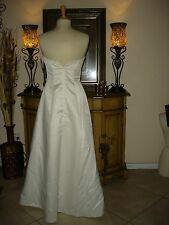 Gold & White Jessica McClintock Strapless Embroidered Wedding/Formal Gown Size 8