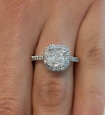 2.30 CT RADIANT CUT E/SI1 DIAMOND HALO ENGAGEMENT RING  ENHANCED 14K WHITE GOLD