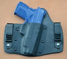 """leather/kydex hybrid IWB tuckable holster Springfield XDs 4"""" barrel- 9mm/.45"""