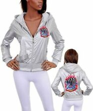 D49 -Large- Silver/Gray Hoodie/Jacket Tatto/Rhinestones