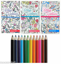 Colour Therapy TRAVEL SET BOOK Anti-Stress Adult Colouring Animal Flower Pattern