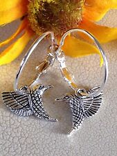 Silver Lever Back Hoops Dangle Humming Bird Earrings. Love. Nature.