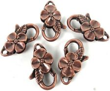 25x14mm Large Antique Copper Pewter Flower Lobster Claw Clasps (5) ~ Lead-Free