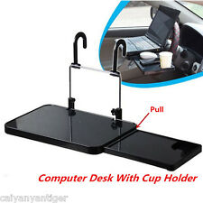 Car Laptop Desk Computer Fold Down Support Steering Wheel Tray Table +Cup Holder