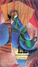 Cubist Modern Art Juan Gris Glass Cup & Newspaper Still Life Oil Spanish